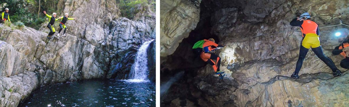 Cliff-jumping and caving are some of the adventure activities on offer in Tuscany.