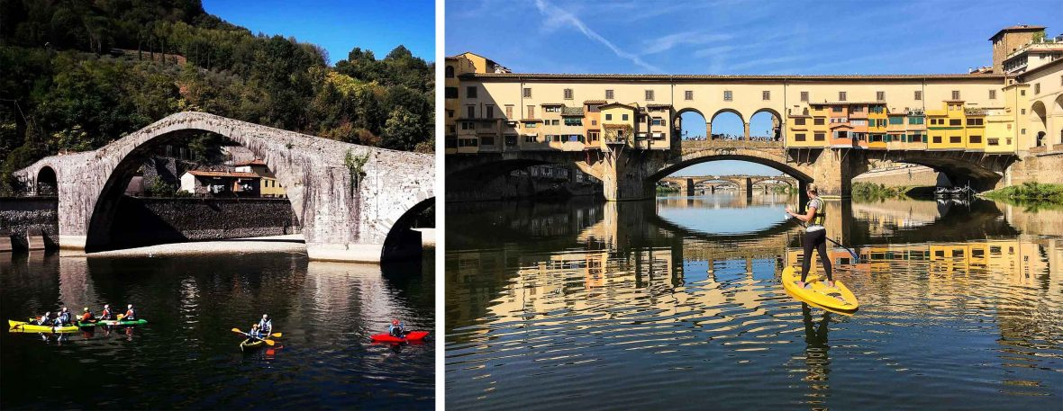 Kayaking and stand-up paddle-boarding in Tuscany.