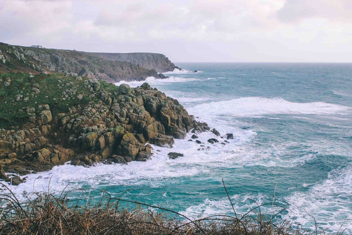 The dramatic coast of Cornwall, UK.