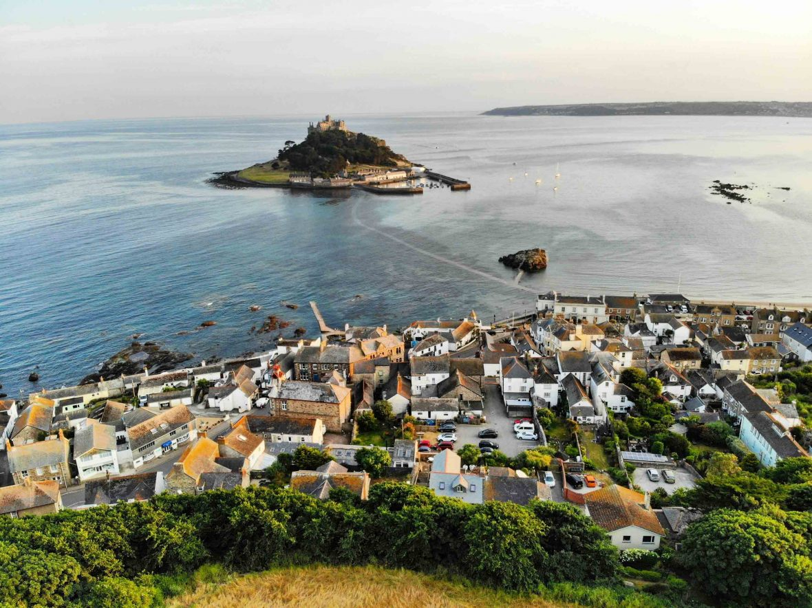 The picturesque town of Marazion in Cornwall.