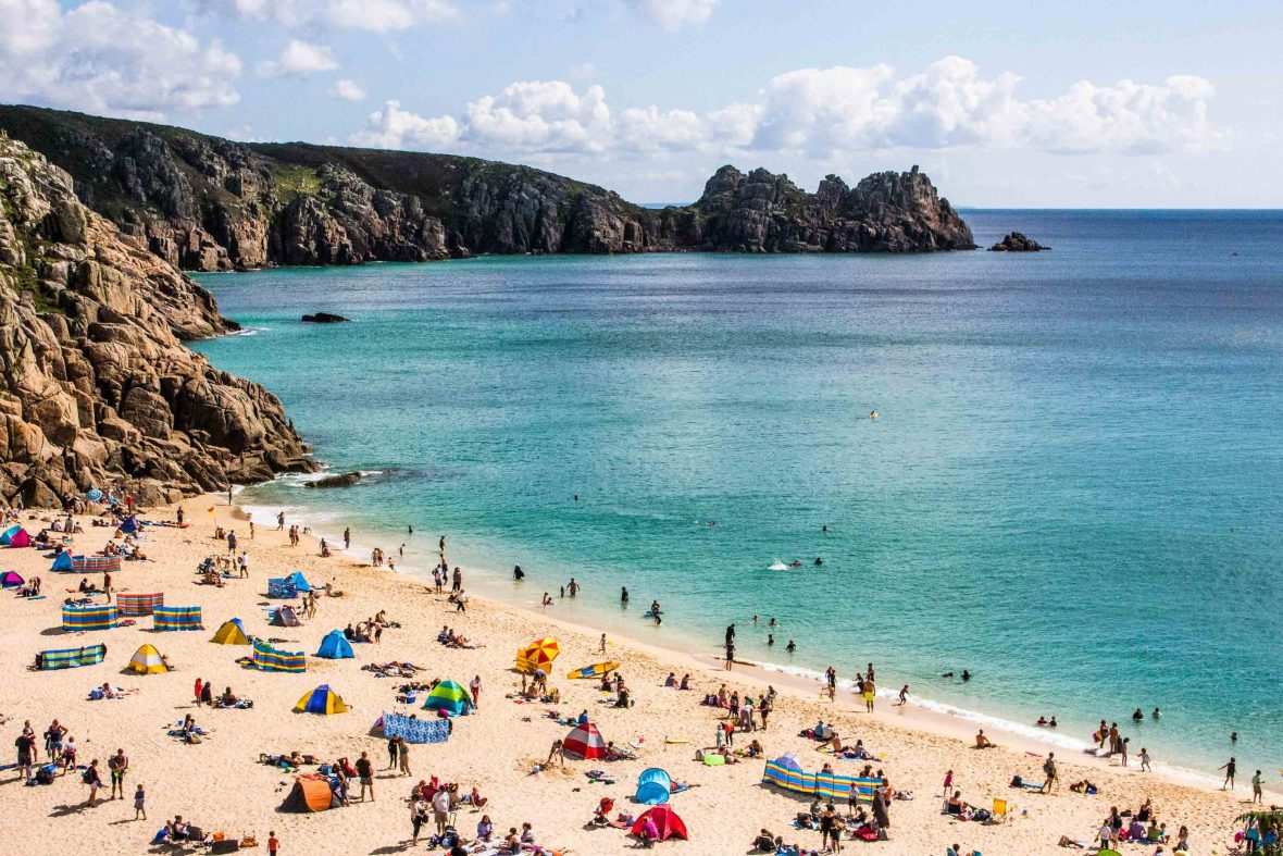 Porthcurno Beach in Cornwall attracts its fair share of visitors in the summer months.