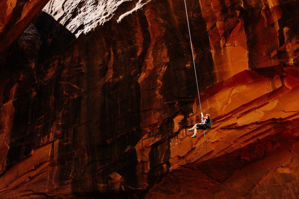 A rock climber in Moab, USA.