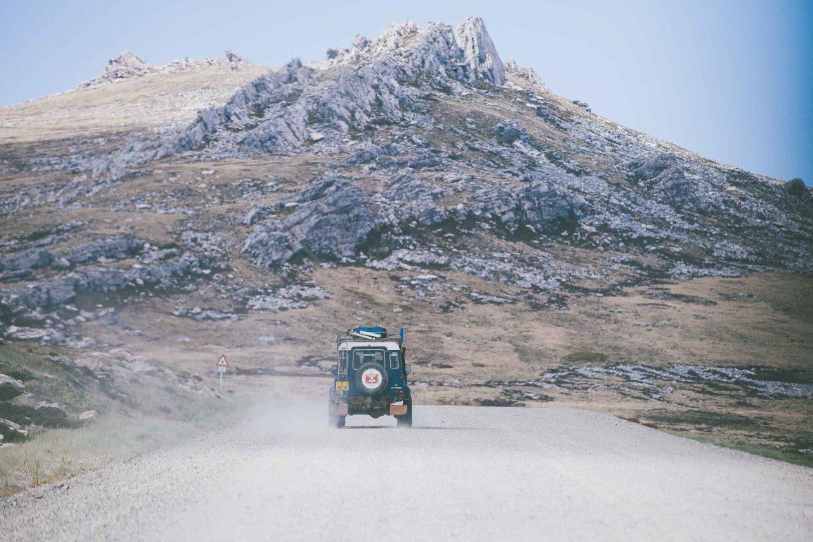 A single vehicle on a road in the Falkland Islands is a reminder of the area's relative isolation.