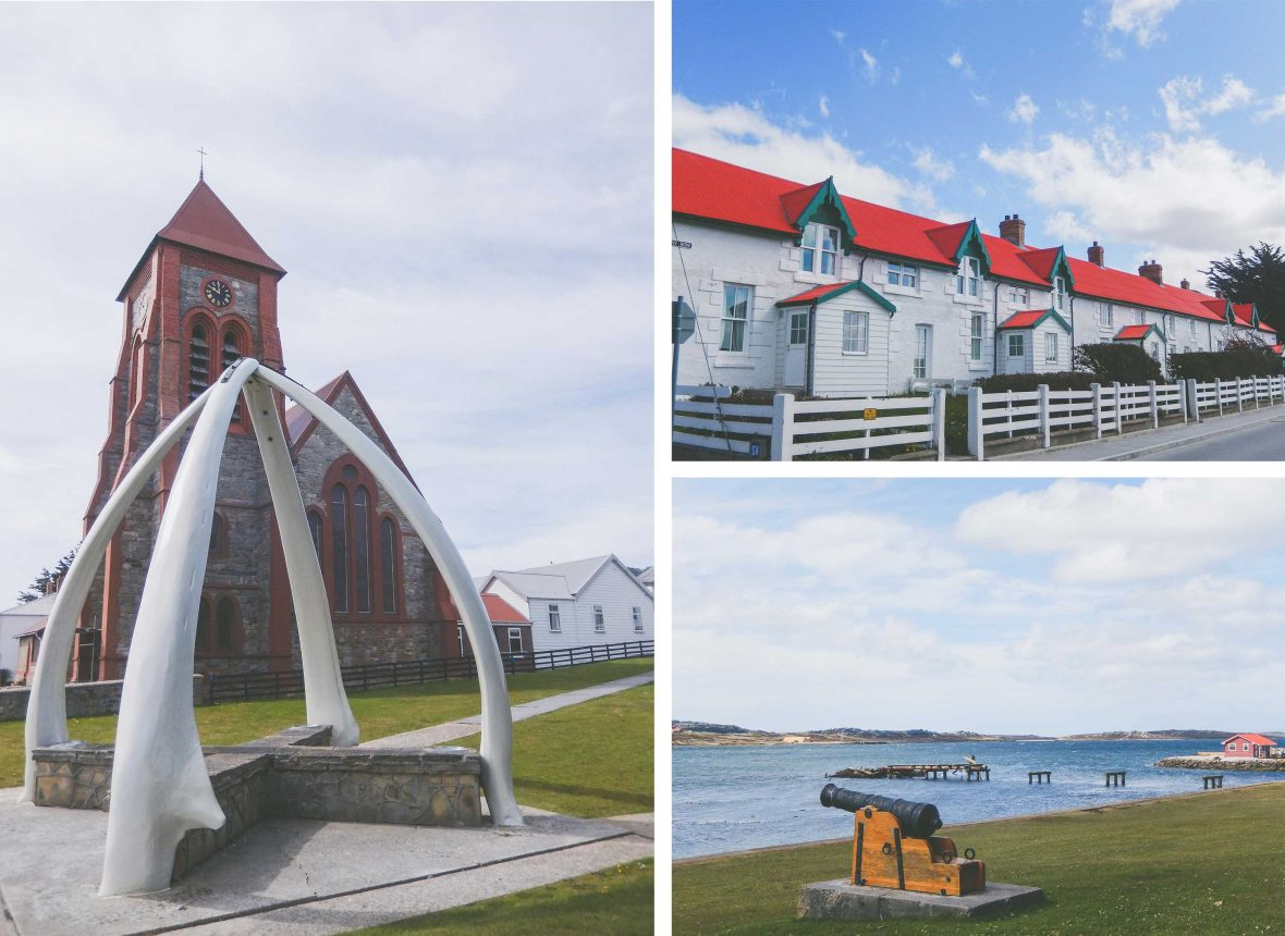 The small town of Stanley with its jawbone arch, picturesque homes and remnants of war.