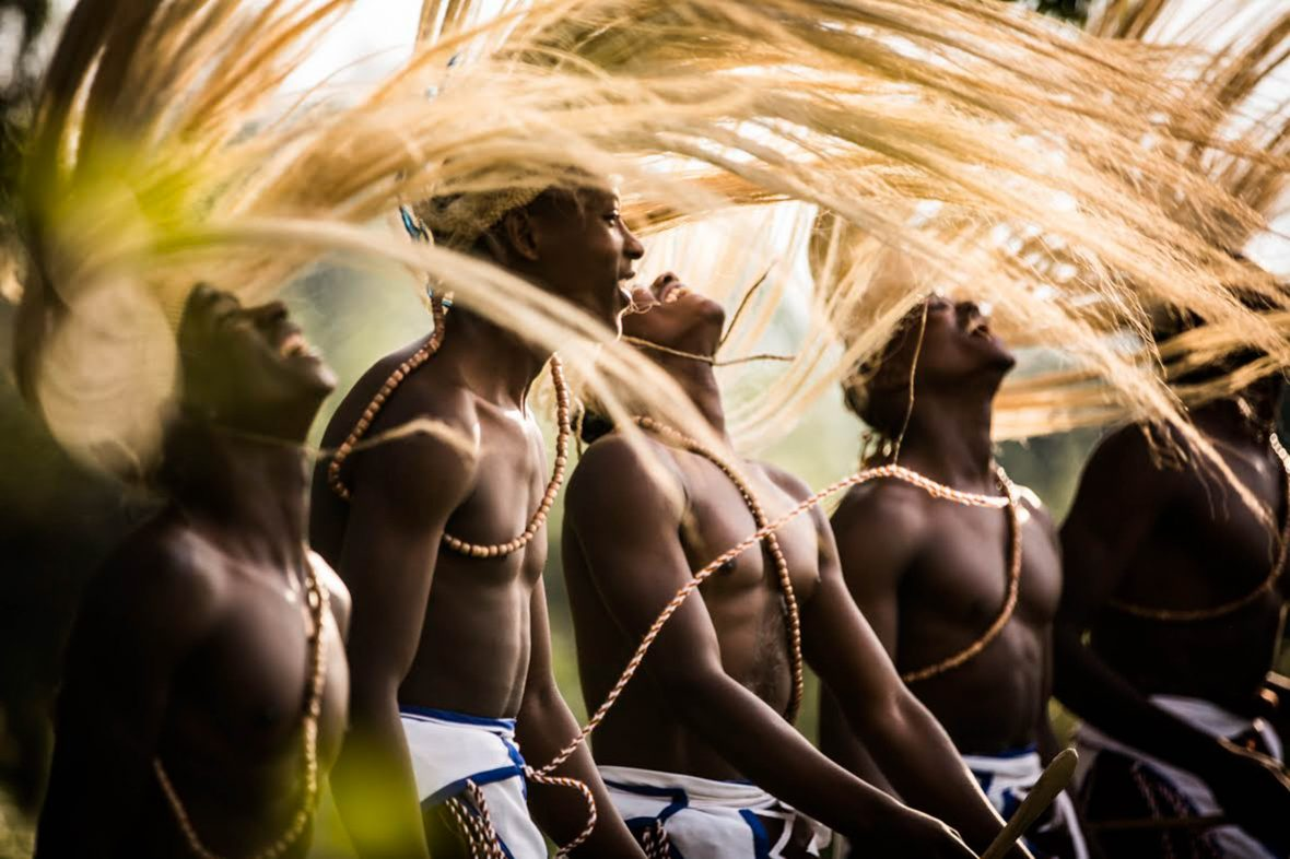 A dance troupe in Bisate Rwanda perform the traditional Rwandan ballet called the Intore, which is based on the courtly victory dance of the Rwandan Mwami (kings).