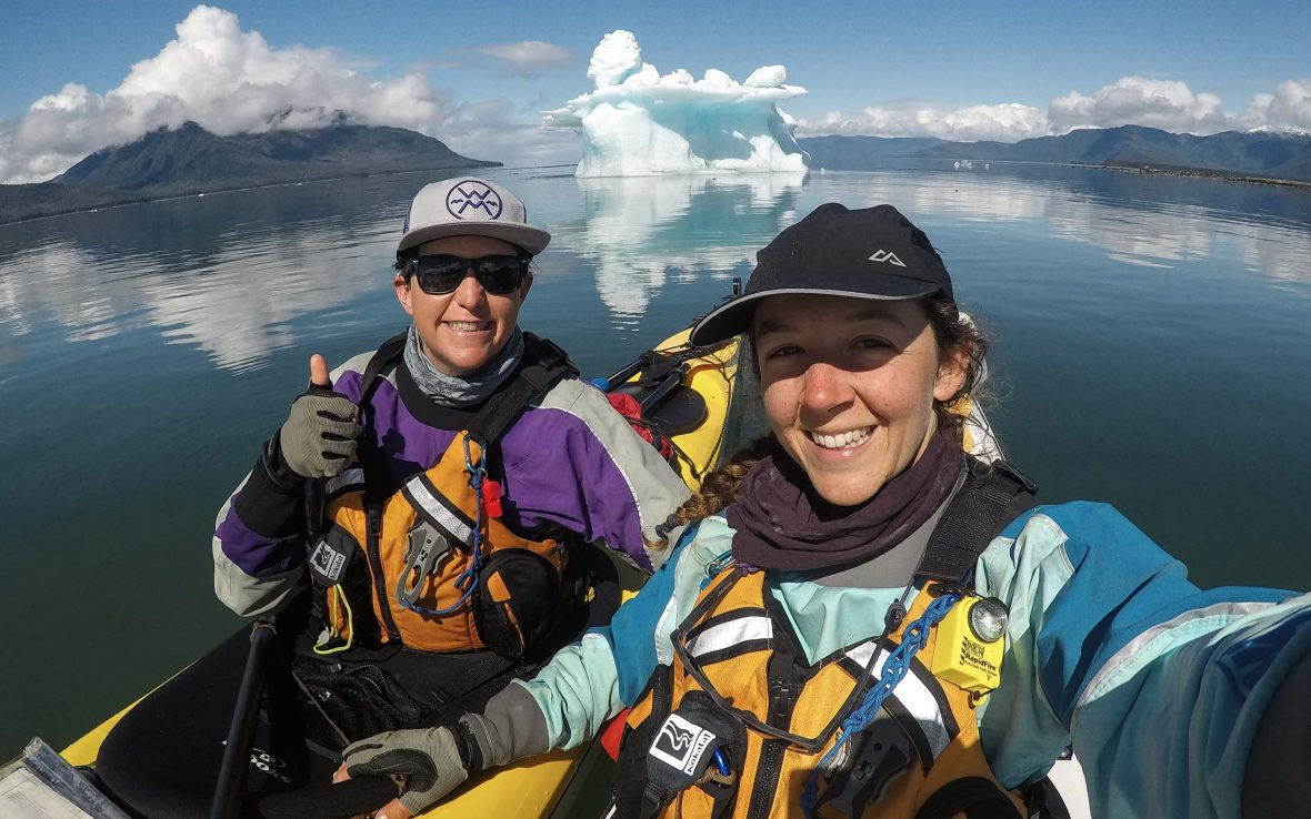 Lucy Graham and Mathilde Gordon pose for a selfie during their expedition.