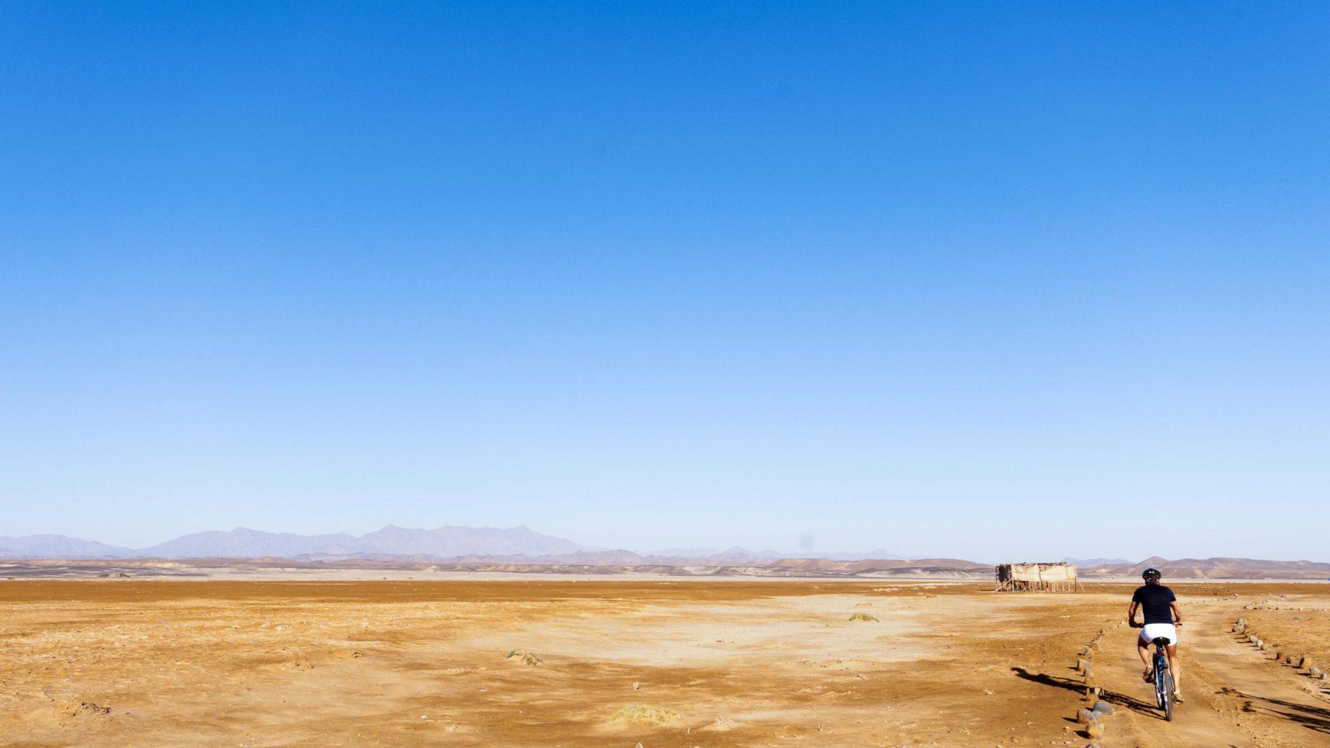Biking in the Eastern Desert.