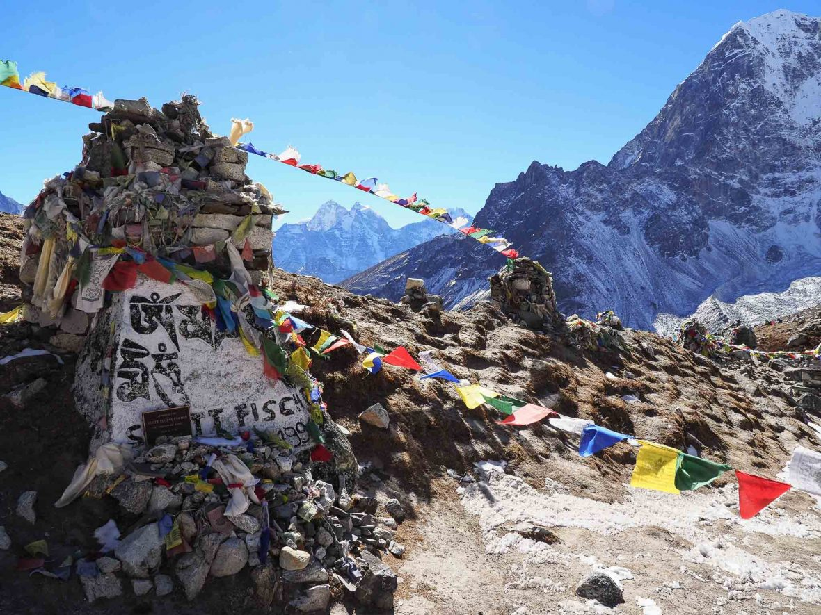Near Lobouche lies dozens of memorials to climbers who have died on Mt Everest, including American Scott Fischer.