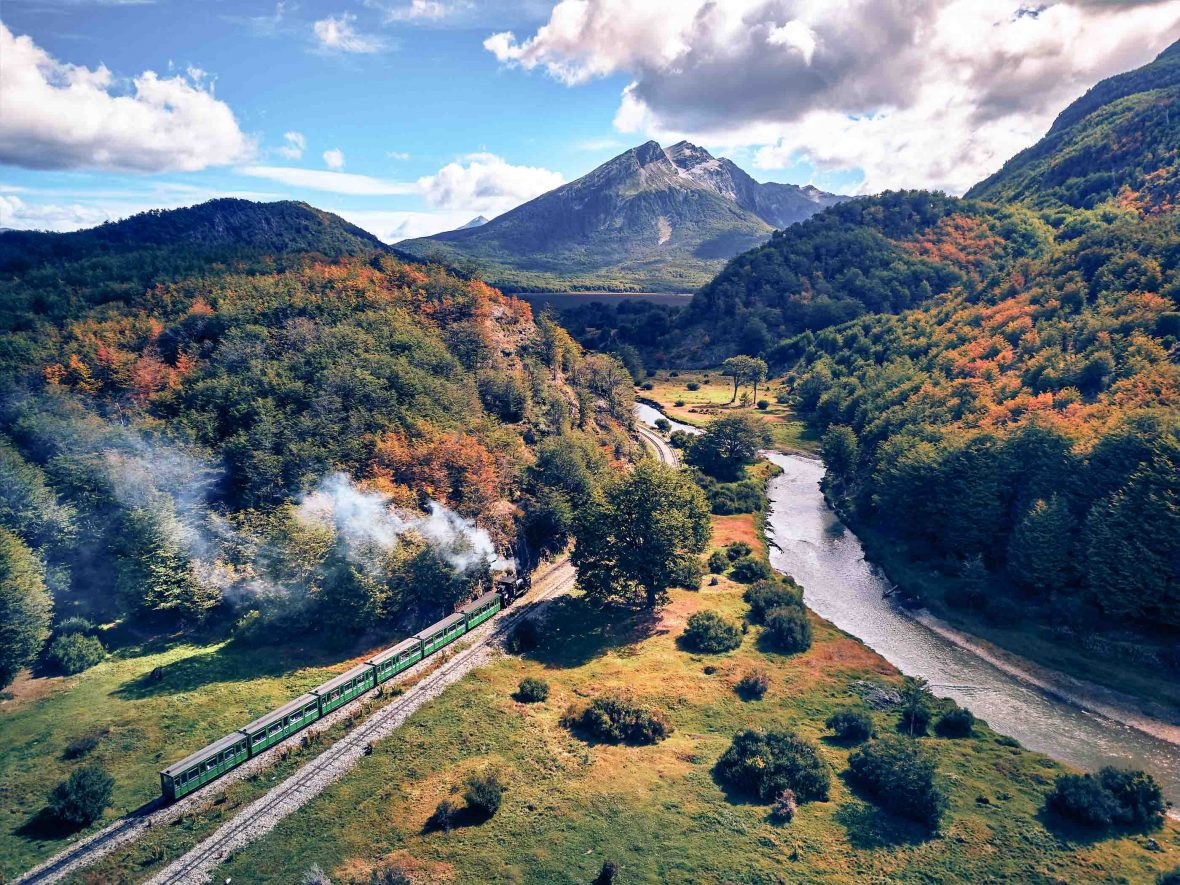 The Tren del Fin del Mundo makes its way through the spectacular landscape of Tierra del Fuego.