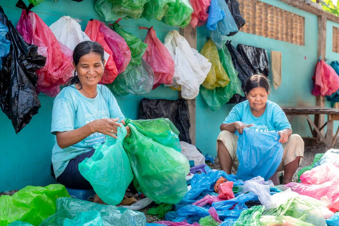 Women work at the Cambodian organization Rehash Trash which helps women escape the cycle of poverty while also clearing the streets of trash.