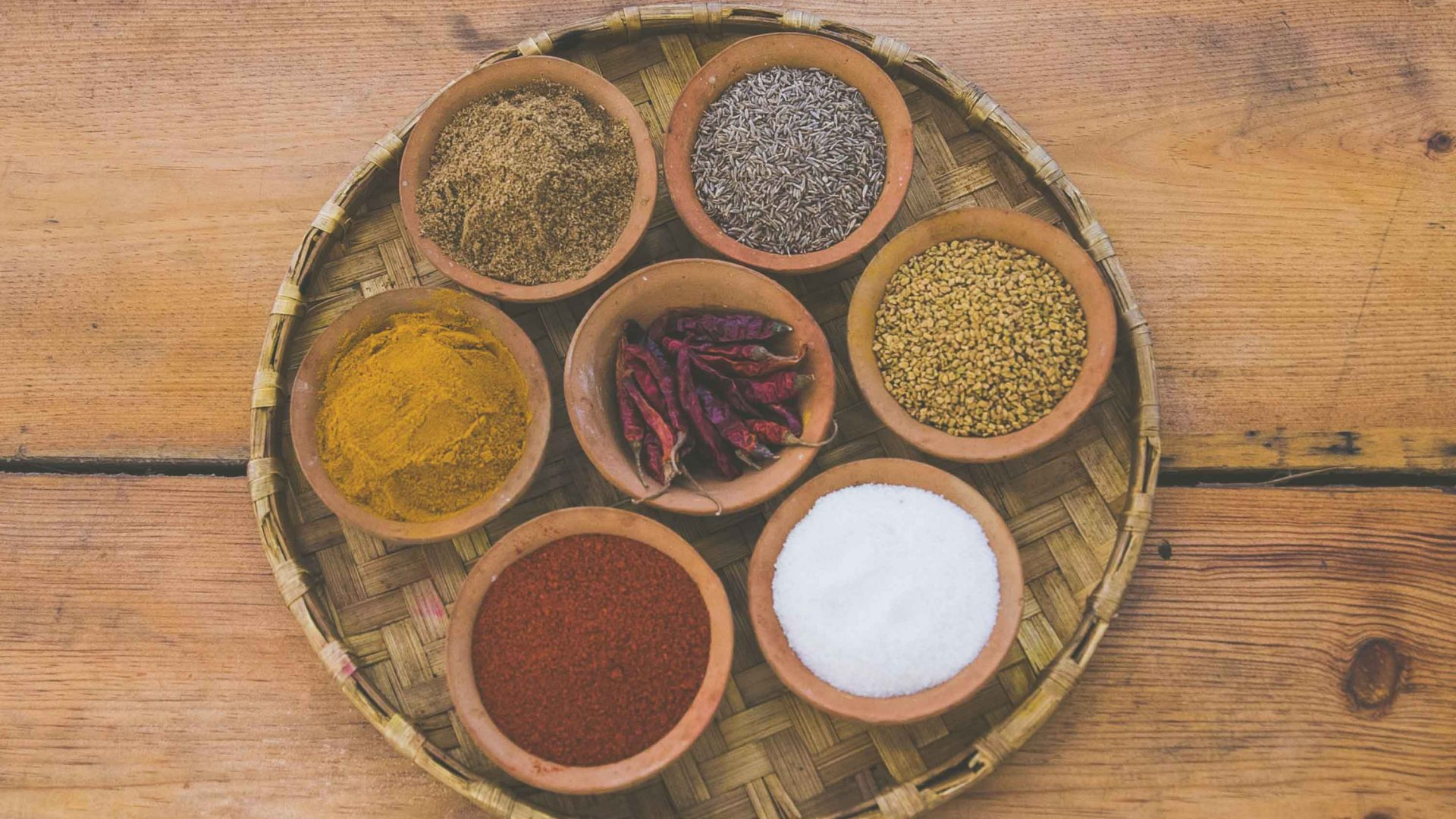Spices used to prepare meals at the Seven Women social enterprise in Nepal.