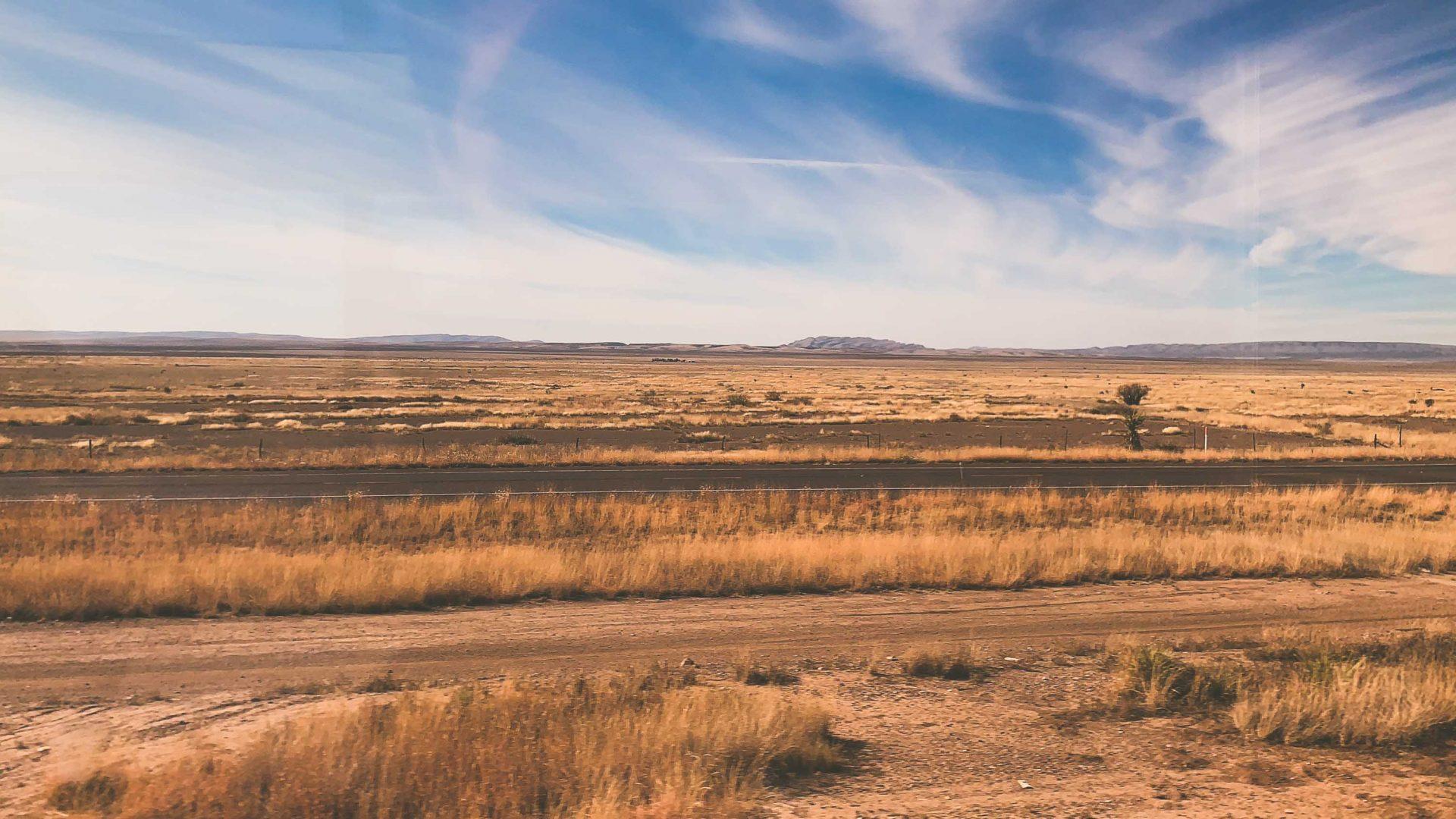 Views of New Mexico through the train window.