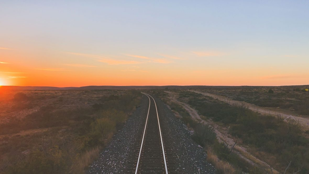 The sun sets while heading to California on the Sunset Limited.