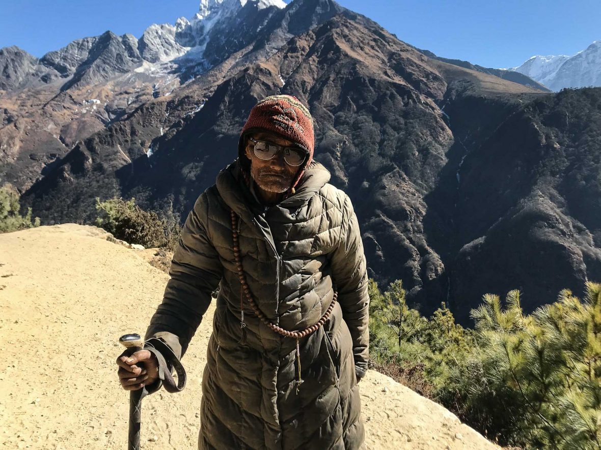 You're likely to meet local legend Pasang Lama Sherpa on the EBC trail. Image credit Sarah Reid