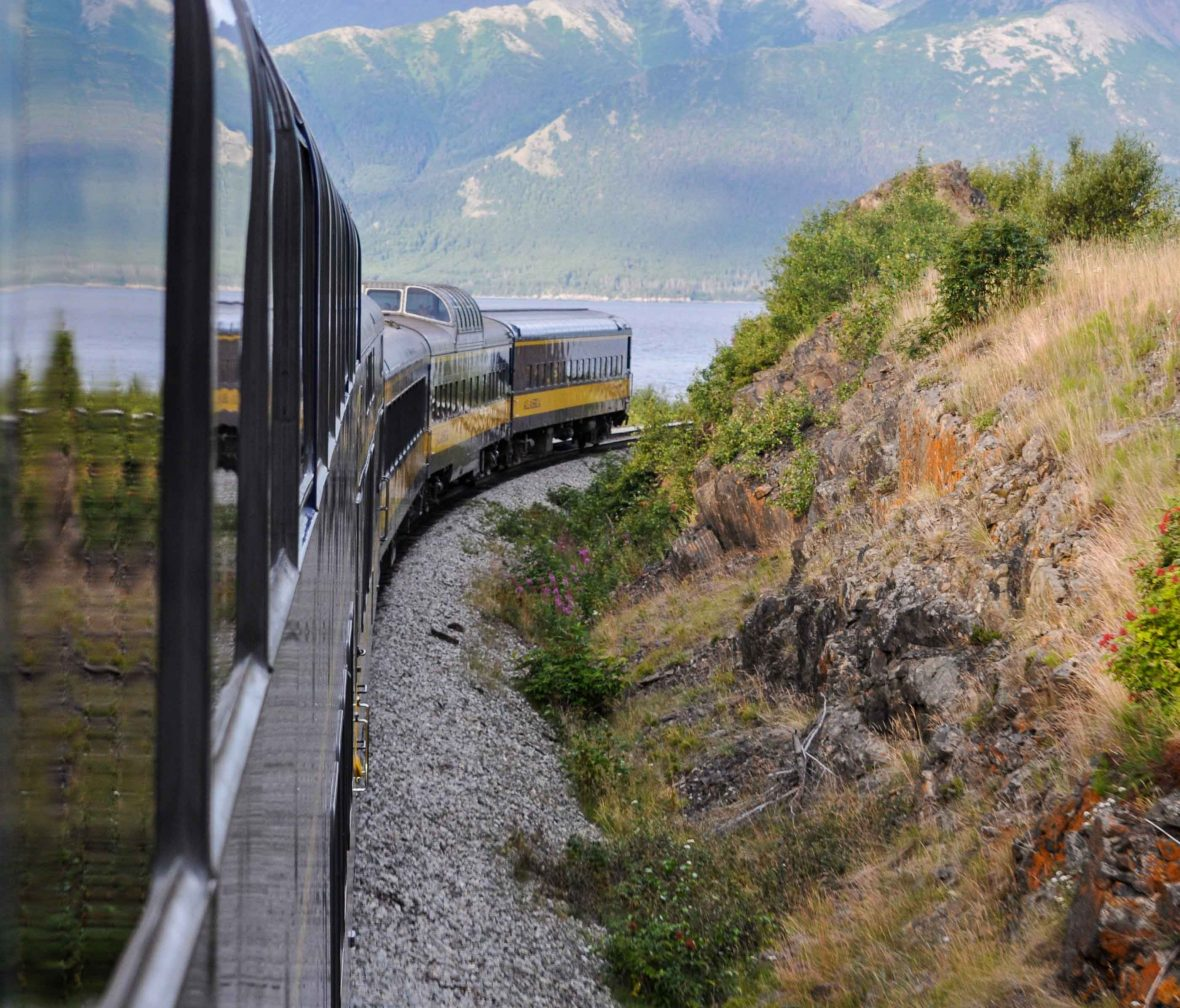 The curved windows of the train allow unparalleled views of the landscape.