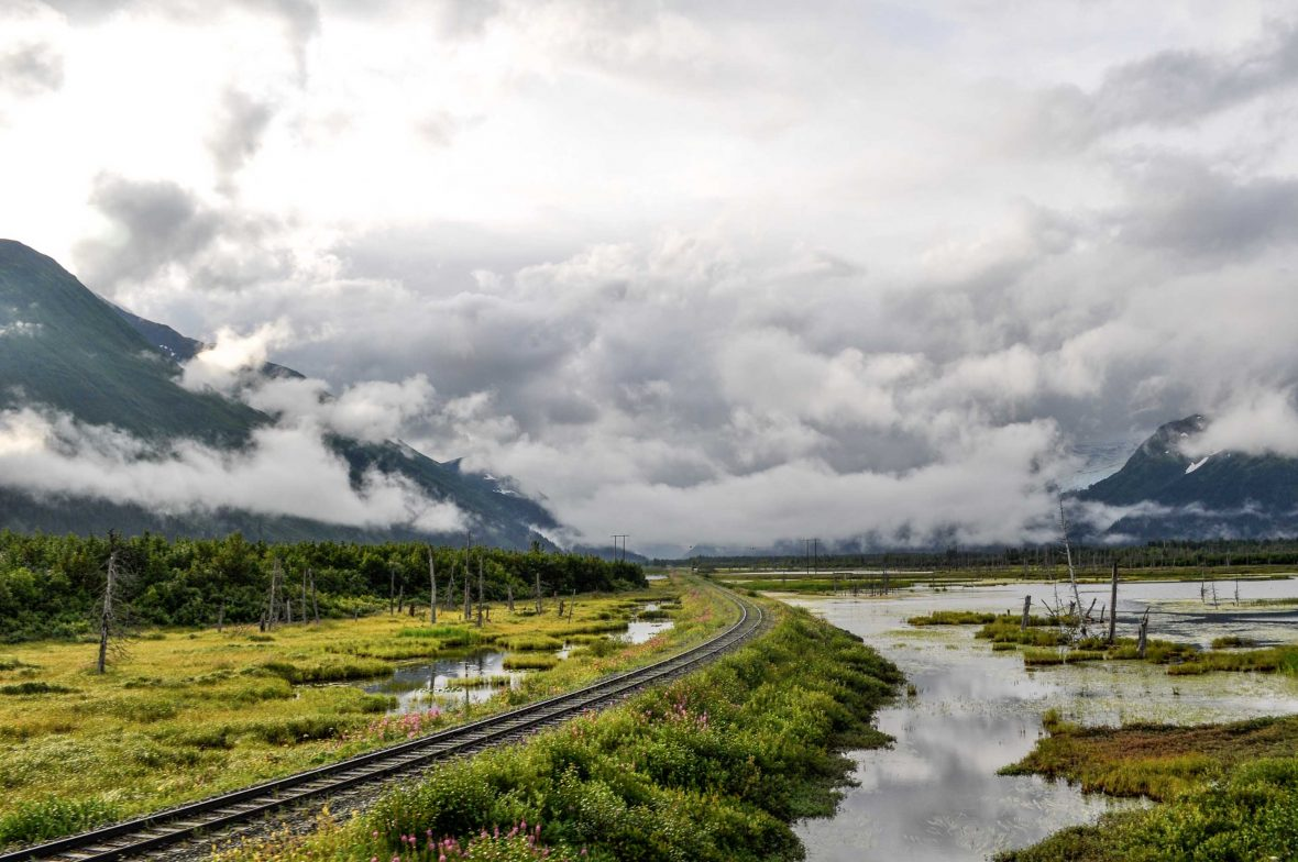 The train track winds through the beautiful Alaskan wilderness.