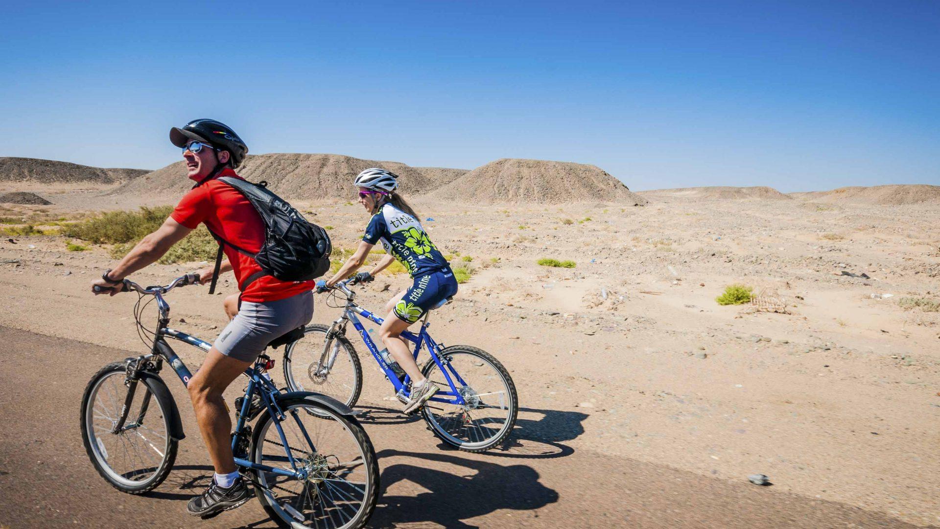 Biking through Egypt.