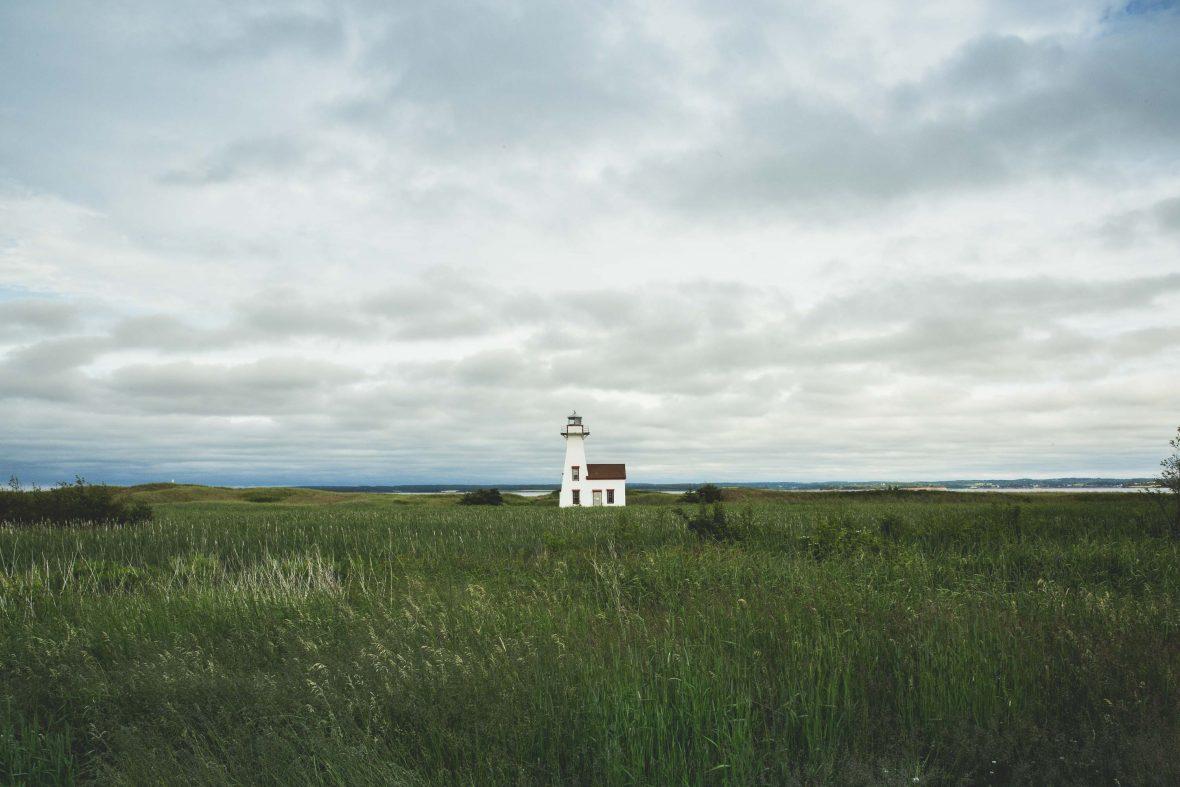 A lone lighthouse on Prince Edward Island, Canada.