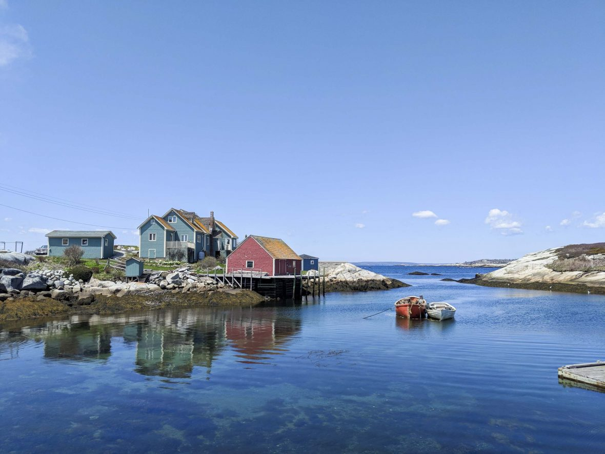 Pastel-colored homes around Peggy's Cove in Newfoundland, Canada.