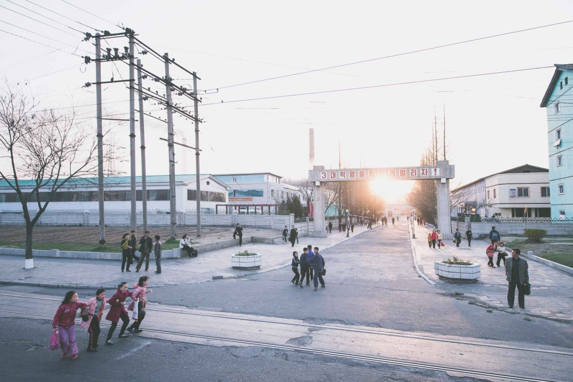 A street scene in Pyongyang, North Korea.