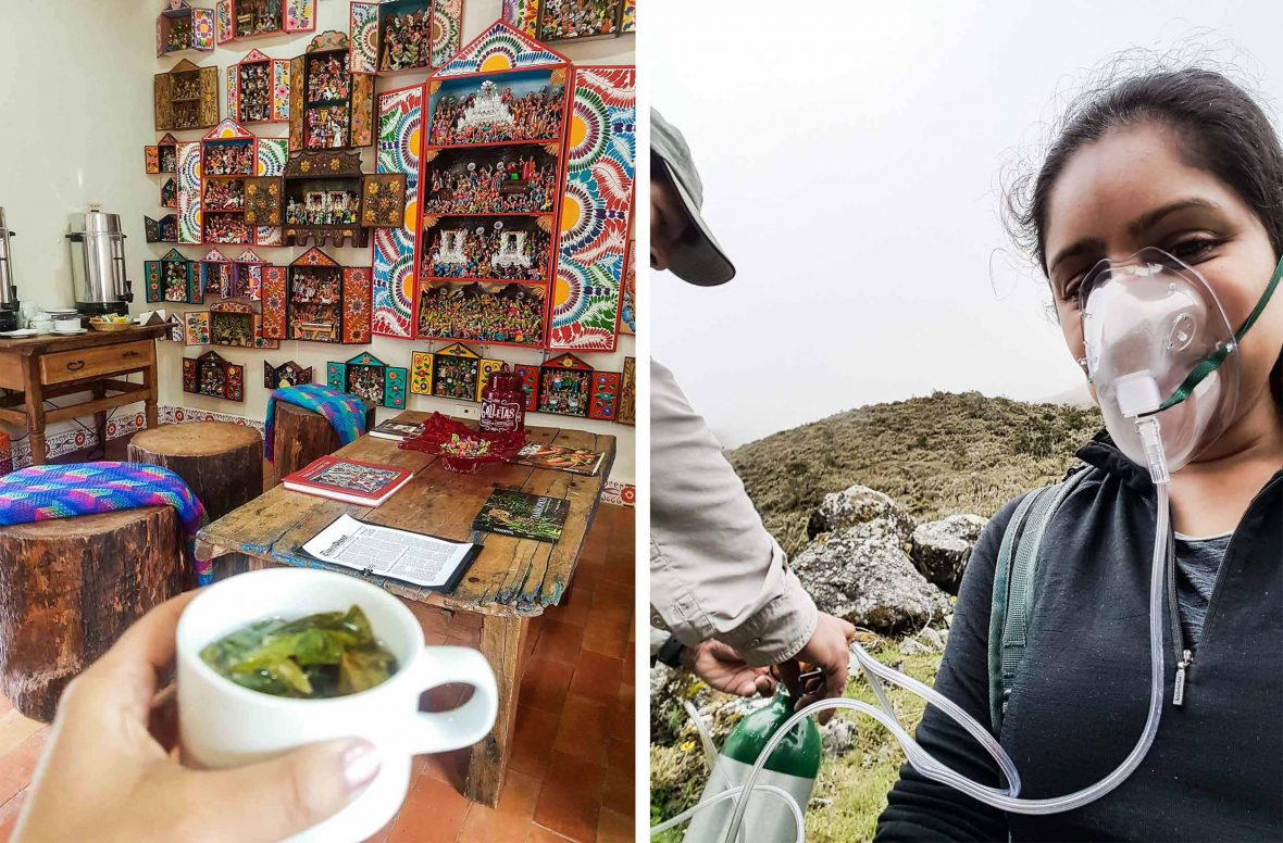 Coca leaf tea (left) is a traditional remedy commonly used to treat altitude sickness in Peru—but sometimes, you just need a good oxygen fix.