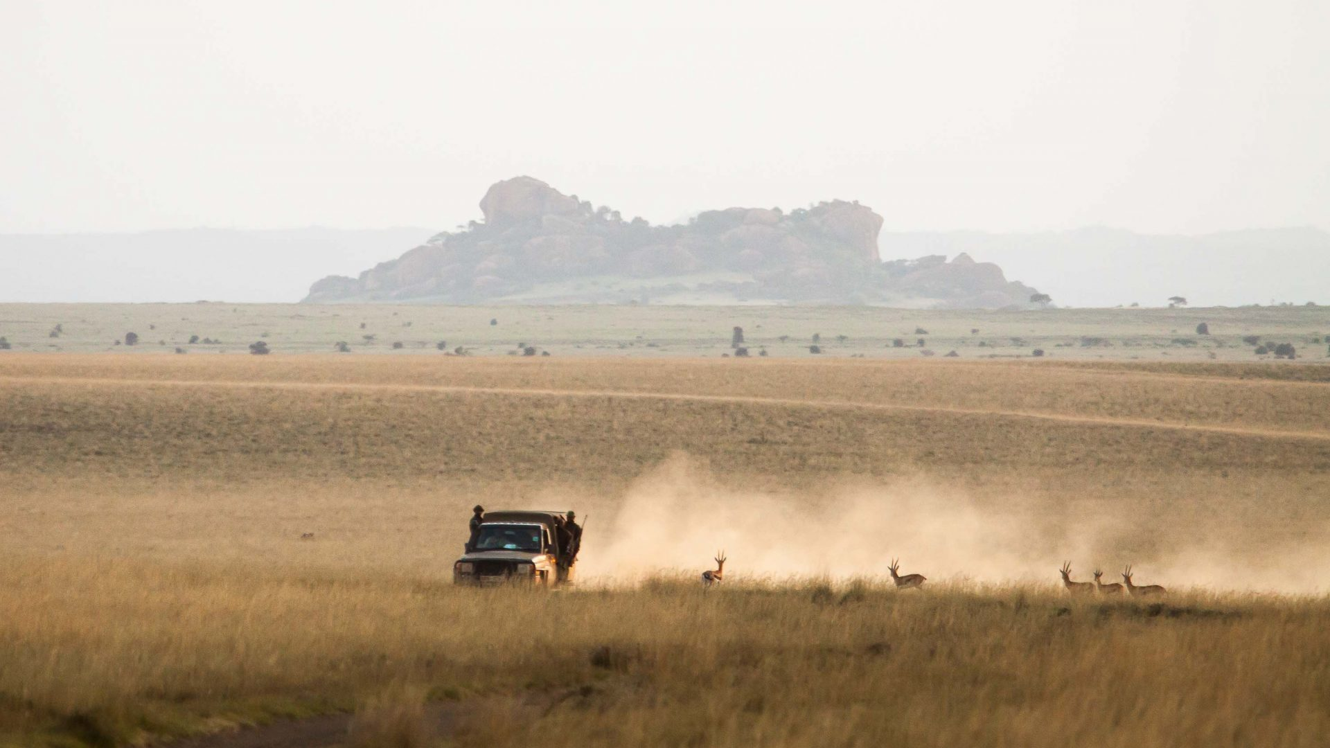 A jeep driven by rangers sends up a cloud of dust in Kenya.