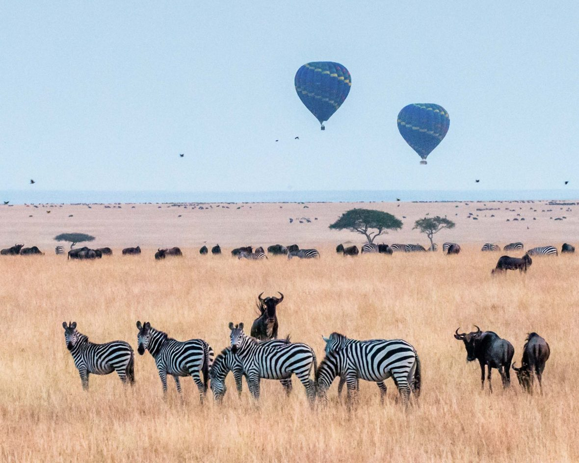 The Big Five is the main draw attracting travelers to Kenya and a hot-air balllon ride over Maasai Mara National Reserve is often top of the list.