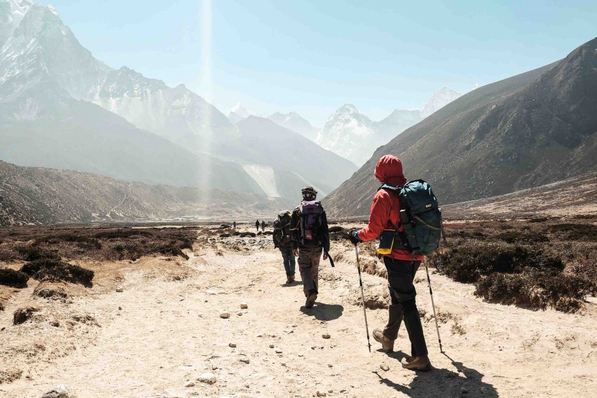 Hikers on their way to Everest Base Camp, Nepal.
