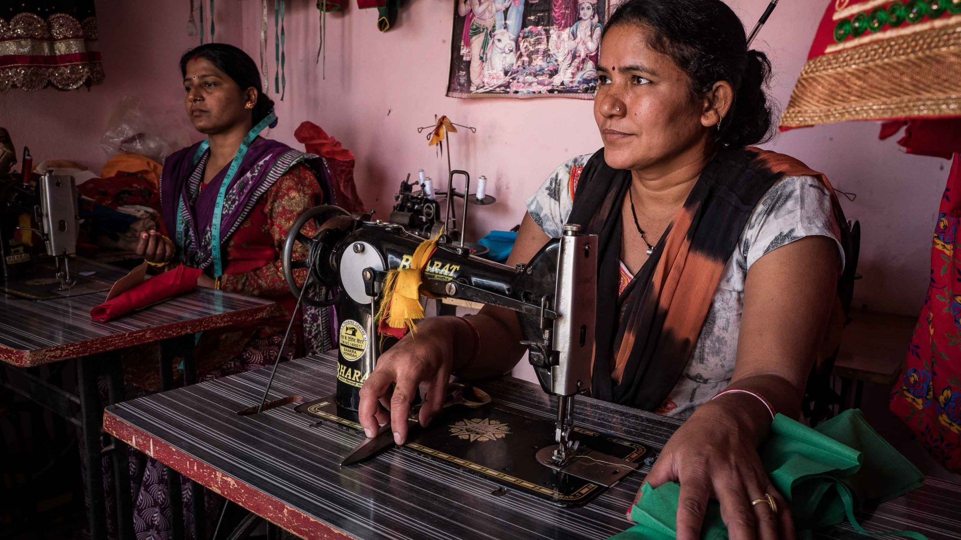 Devi Kapade married when she was 15 years old and at 25 she was widowed with three daughters. WHR gave her three sewing machines to help her achieve economic independence.