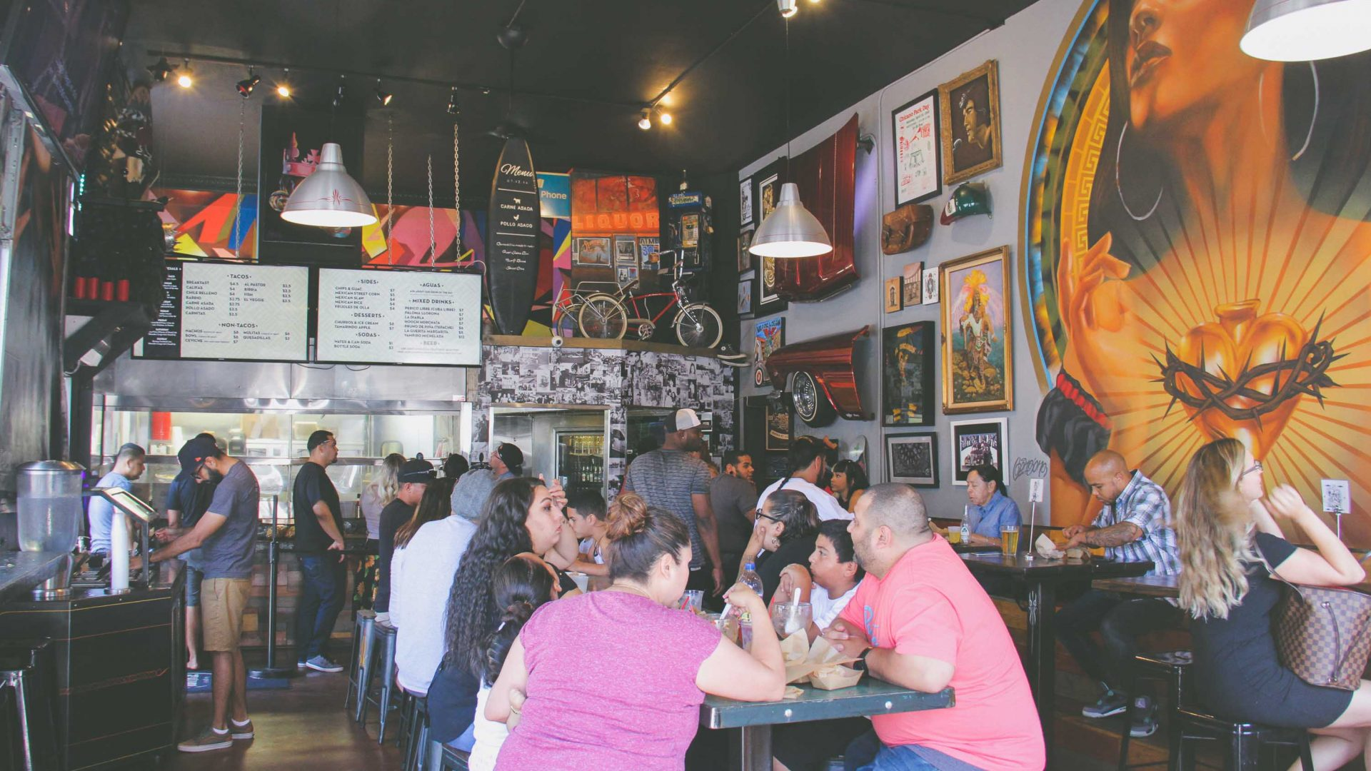 Salud in Barrio Logan is a hip, casual Mexican restaurant-salsa bar serving up tacos and craft beer.