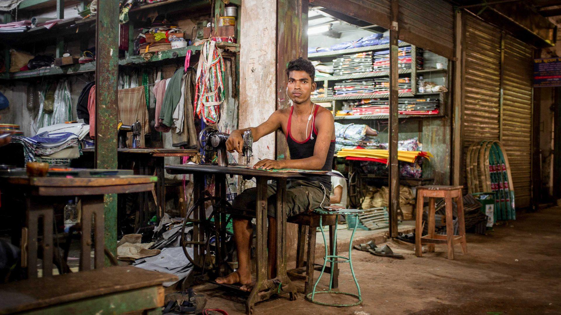 A sewing workshop in Bangladesh.