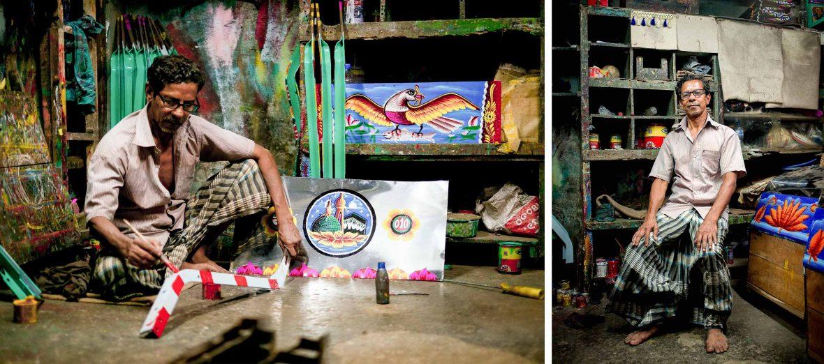 Bonjo at his workshop in Chittagong, Bangladesh.