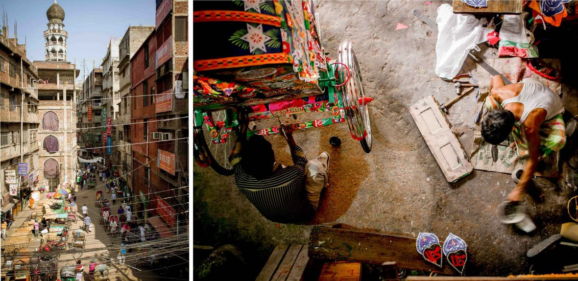 Left: The busy capital of Dhaka filled with rickshaws; Right: A rickshaw workshop.