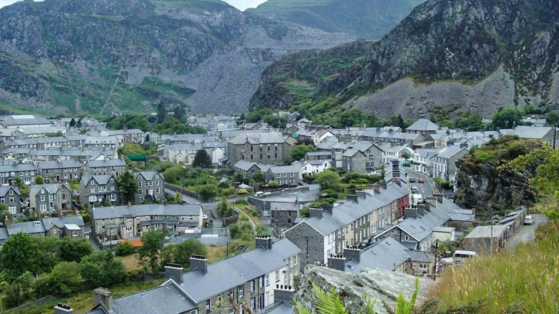 Views over Blaenau Ffestiniog, north Wales.