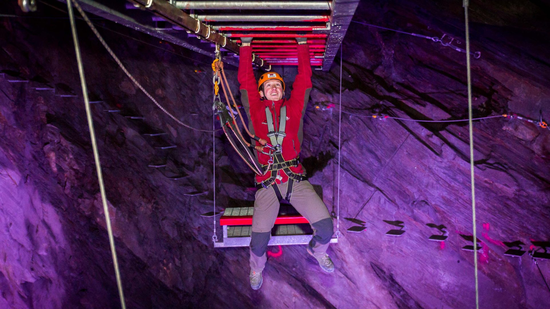 Zip World Caverns, the world's biggest underground zip experience.