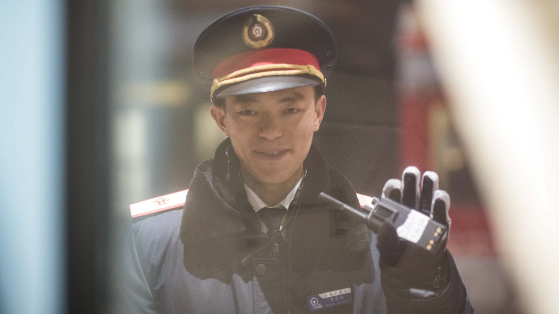 A guard on the platform in Xining, capital of Qinghai province in central China, by the Tibetan Plateau.