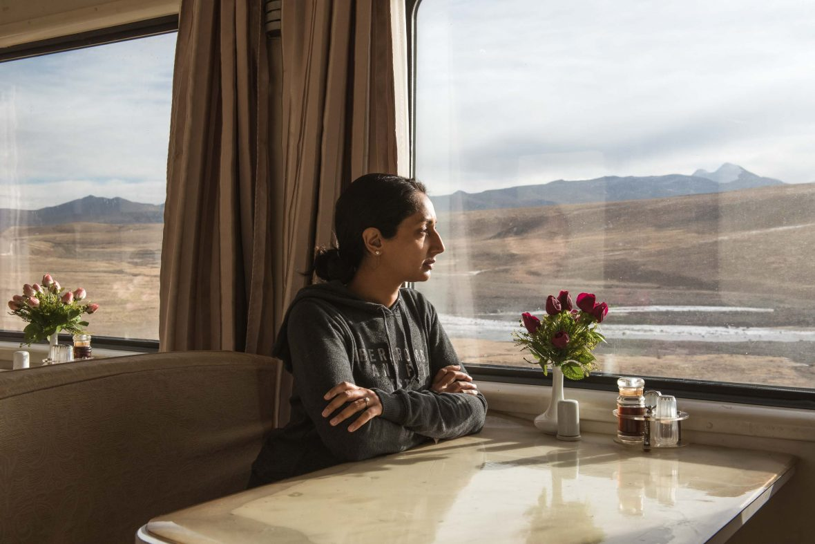Writer Monisha Rajesh traveling from Xian to Lhasa on the Qinghai-Tibet railway.