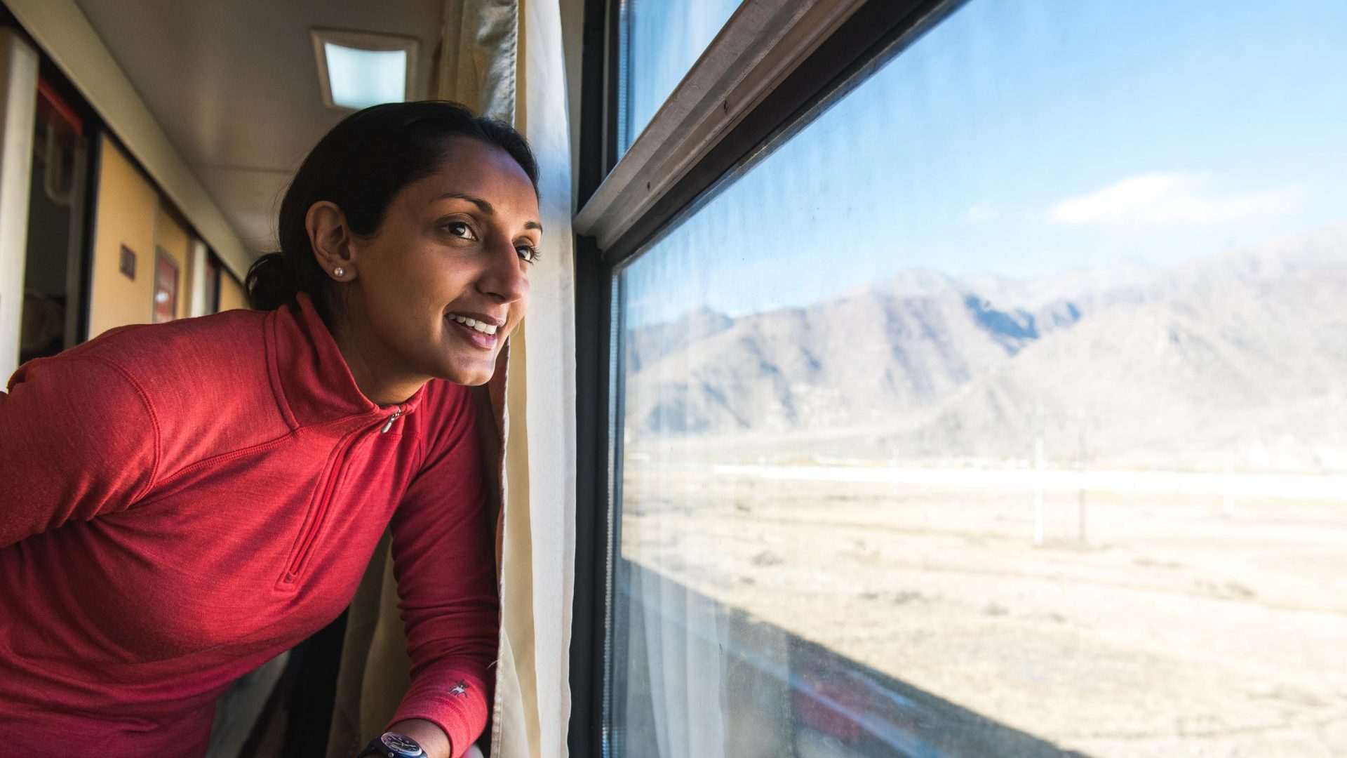 Writer Monisha Rajesh in China during her around-the-world train journey.