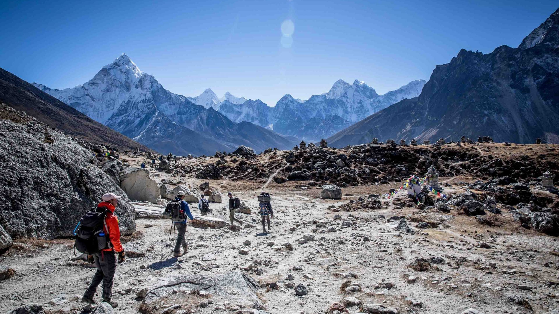 Hikers during the Everest Base Camp trek.