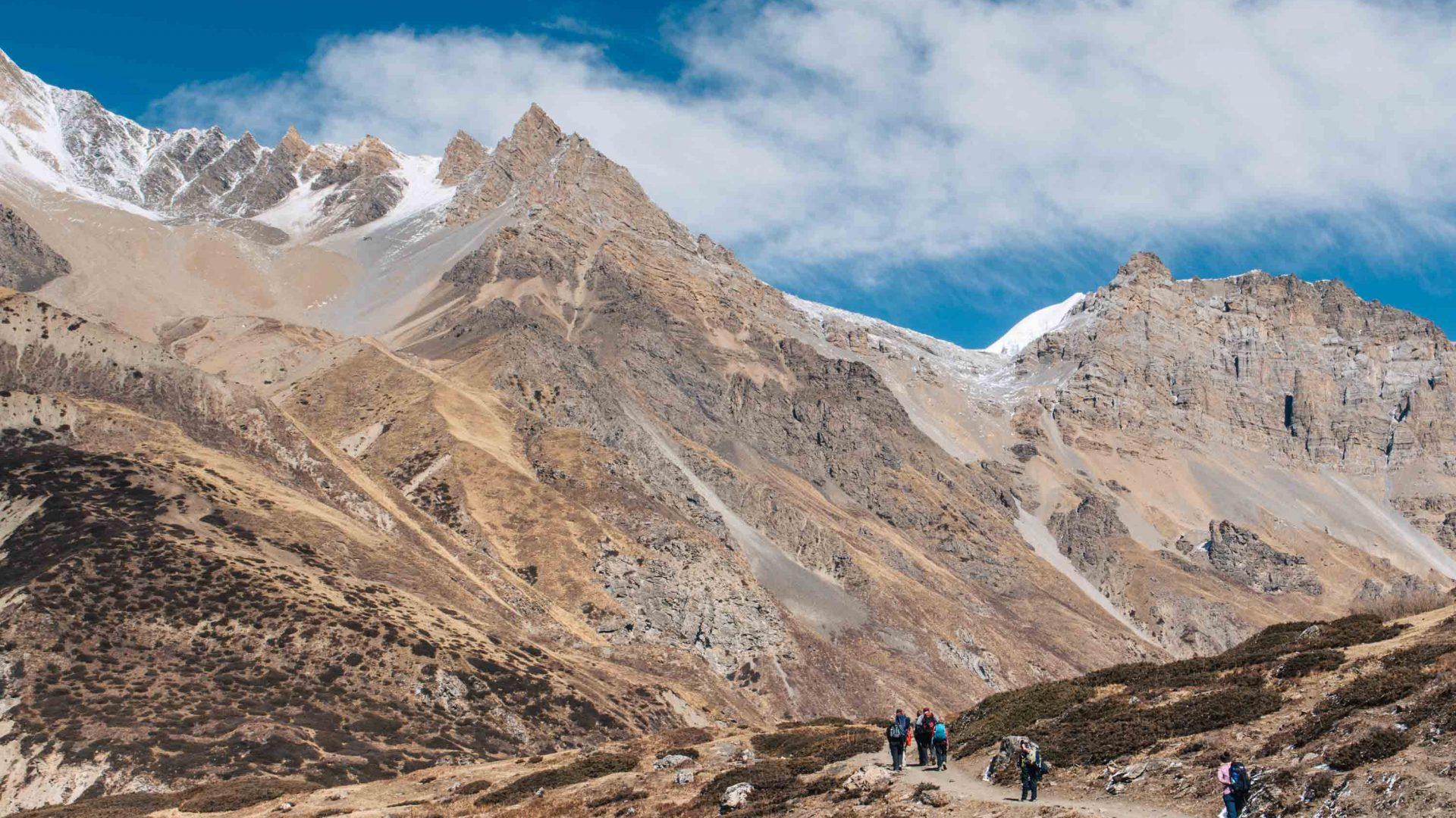 Hikers make their way along the Annapurna Trail in Nepal.