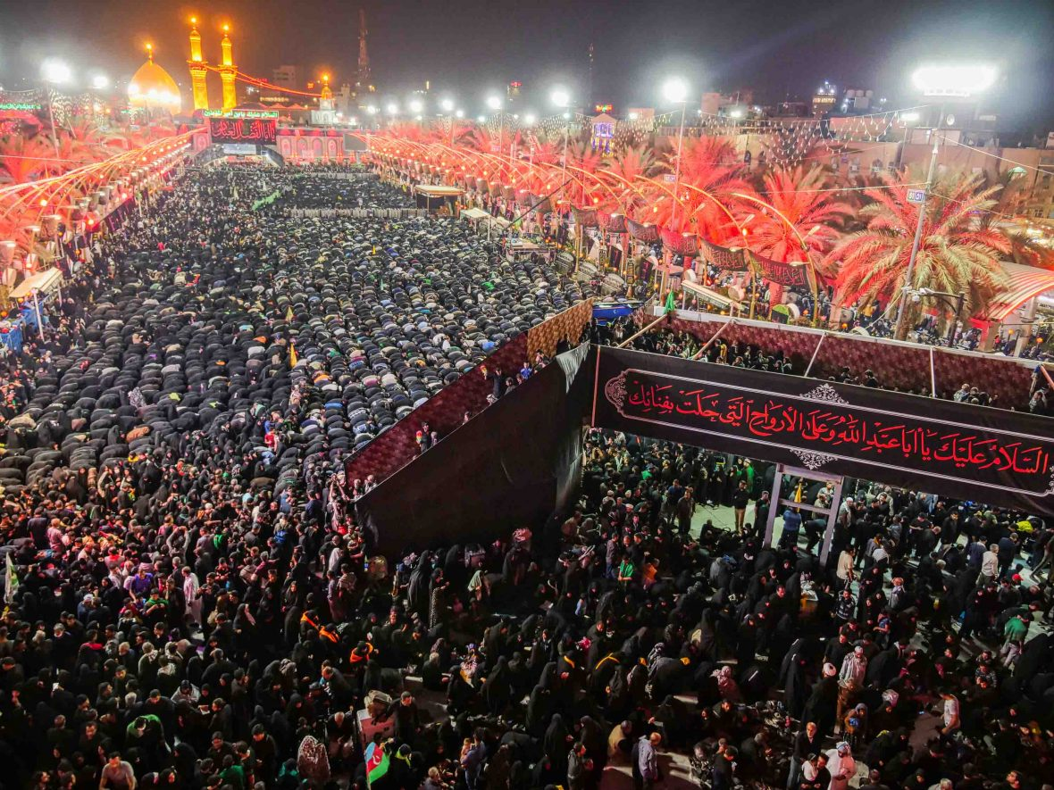 Millions of Shi'a pilgrims cram into the Imam Husain Shrine during the Arba'een pilgrimage, possibly the largest annual movement of people on earth.
