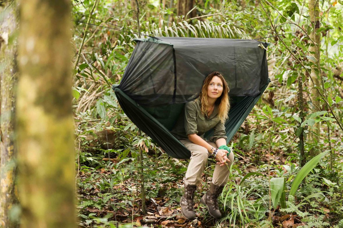 Pip Stewart takes a break in the jungle.