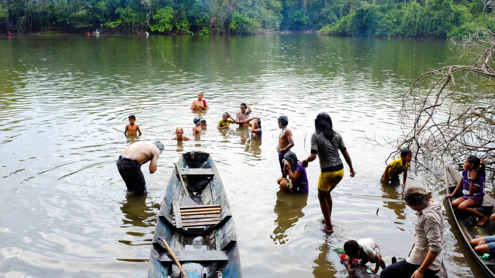 Taking part in the annual fishing ritual of the Munduruku tribe in Brazil.