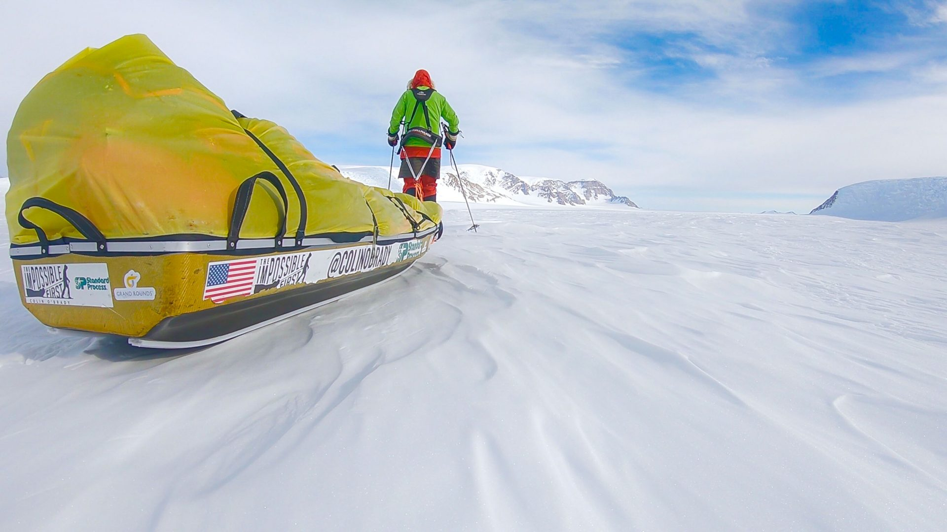 Colin O'Brady pulls his sled along, filled with 170kg of freeze-dried food, tents and polar gear.