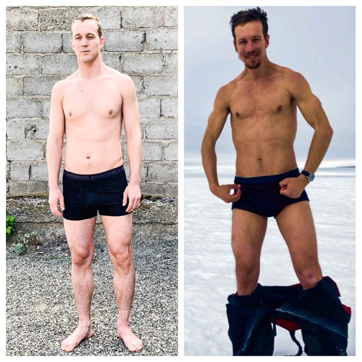 Colin O'Brady shows off the physical before-and-after changes to his body for his Antarctic journey.