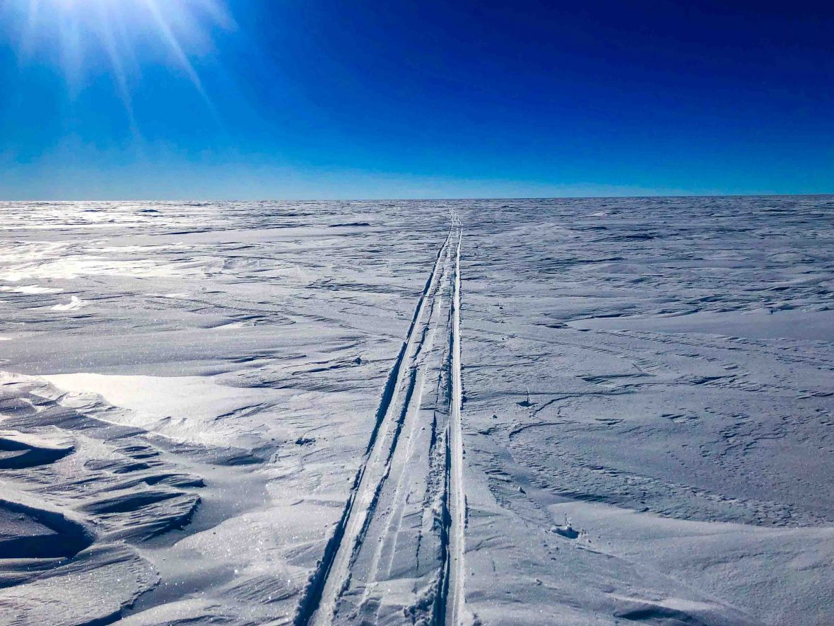Tracks mark the path made by Colin O'Brady's sled as it passed through Antarctica.