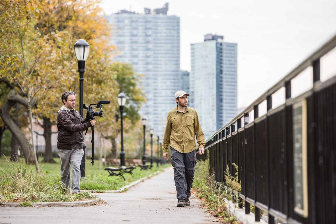 Director Jeremy Workman films Matt Green in Long Island City, Queens.