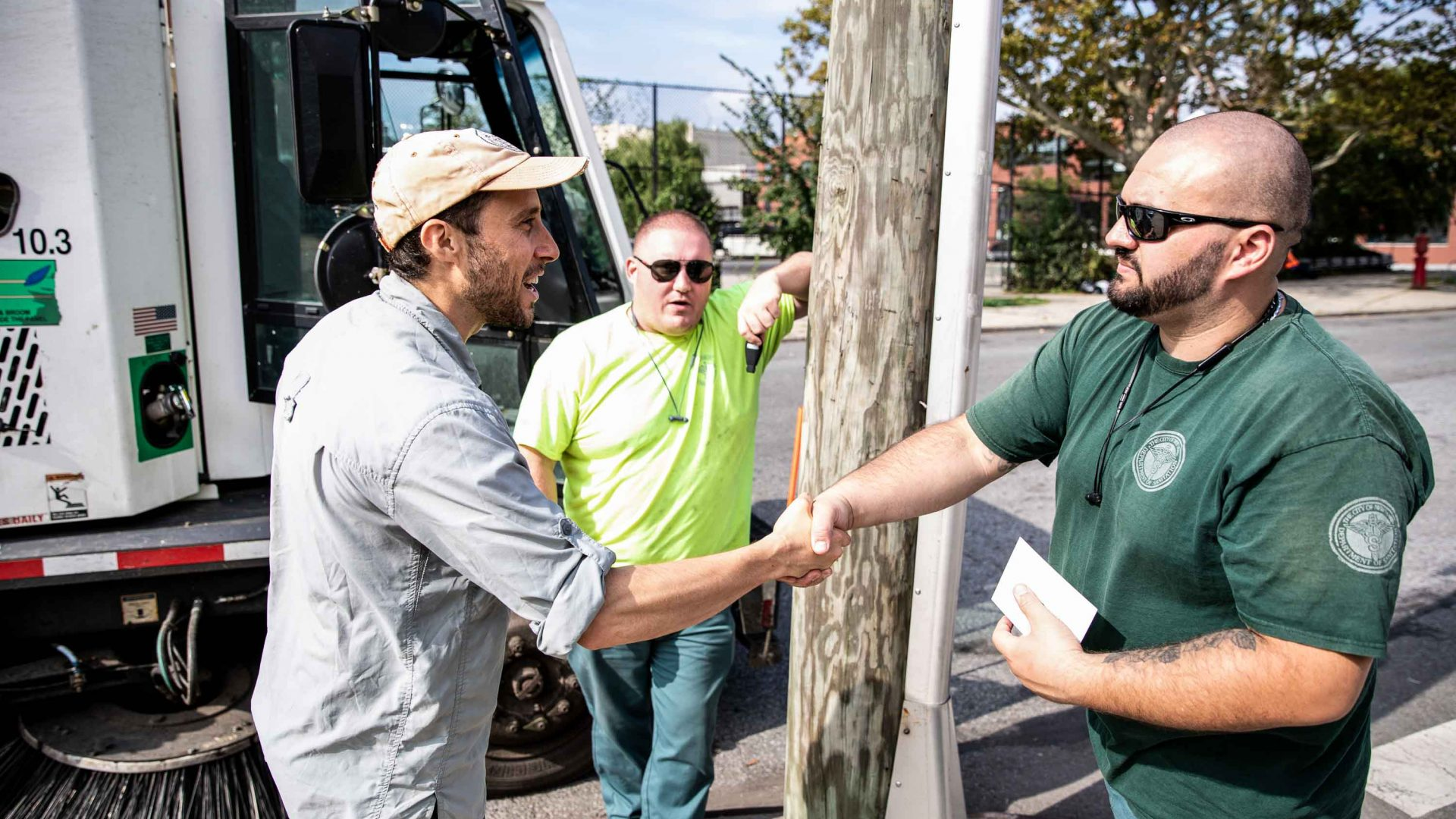 Matt Green meets sanitation workers in Red Hook, Brooklyn.