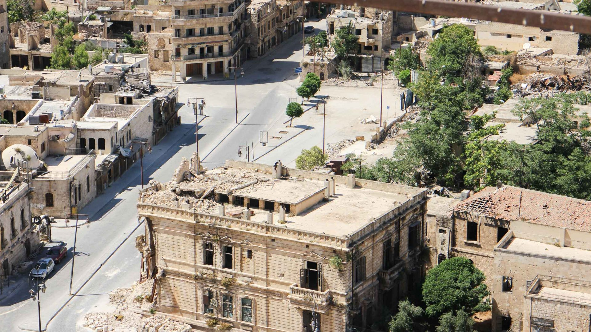 Views down over Aleppo in Syria which has been badly damaged by the war with IS.