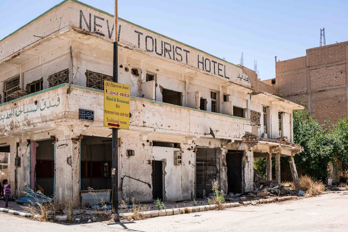 Remains of a 'New tourist hotel' in Palmyra town, which owing to fighting has very few tourists these days.